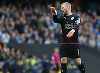 Leicester City's goalkeeper Kasper Schmeichel reacts to an incident<br /> <br /> Photographer Stephen White/CameraSport<br /> <br /> The Premier League - Manchester City v Leicester City - Saturday 13th May 2017 - Etihad Stadium - Manchester<br /> <br /> World Copyright &copy; 2017 CameraSport. All rights reserved. 43 Linden Ave. Countesthorpe. Leicester. England. LE8 5PG - Tel: +44 (0) 116 277 4147 - admin@camerasport.com - www.camerasport.com