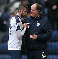 Preston North End's Tom Barkuizen is congratulated by  Simon Grayson<br /> <br /> Photographer Mick Walker/CameraSport<br /> <br /> The EFL Sky Bet Championship - Preston North End v Reading - Saturday 11th March 2017 - Deepdale - Preston<br /> <br /> World Copyright &copy; 2017 CameraSport. All rights reserved. 43 Linden Ave. Countesthorpe. Leicester. England. LE8 5PG - Tel: +44 (0) 116 277 4147 - admin@camerasport.com - www.camerasport.com
