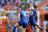 Houston, TX - Saturday May 27, 2017: Lindsay Elston and Rumi Utsugi go up for a header during a regular season National Women's Soccer League (NWSL) match between the Houston Dash and the Seattle Reign FC at BBVA Compass Stadium.