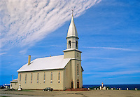 Catholic church on shore of Gulf of St. Lawrence<br /> Madeleine-Centre<br /> Quebec<br /> Canada