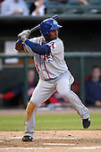 Round Rock Express second baseman Esteban German #6 at bat during a game versus the Memphis Redbirds at Autozone Park on April 28, 2011 in Memphis, Tennessee.  Memphis defeated Round Rock by the score of 6-5 in ten innings.  Photo By Mike Janes/Four Seam Images