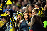 Fans celebrate during the Super Rugby match between the Hurricanes and Stormers at Westpac Stadium in Wellington, New Zealand on Friday, 5 May 2017. Photo: Dave Lintott / lintottphoto.co.nz