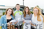 Students from Mercy Mounthawk Secondary School, Tralee, who received their Leaving Certificate results on Wednesday morning were l-r: Aoife Grimes (Ardfert), Cathal O'Reilly (Mounthawk), Meg Hurley (Tralee) and Orla Casey (Ardfert).