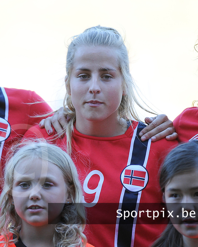 20140718 - Tonsberg , NORWAY : Norwegian Sigrid Hansen pictured during the female soccer match between Women under 19 teams of Norway and Belgium , on the second matchday in group A of the UEFA Women Under19 European Championship at Tonsberg Stadion , Norway . Friday 18th July 2014 . PHOTO DAVID CATRY