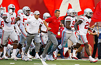 Urban Meyer and the Ohio State Buckeyes take the field for Thursday's NCAA Division I football game against the Indiana Hoosiers at Memorial Stadium in Bloomington, Ind., on August 31, 2017. [Barbara J. Perenic/Dispatch]