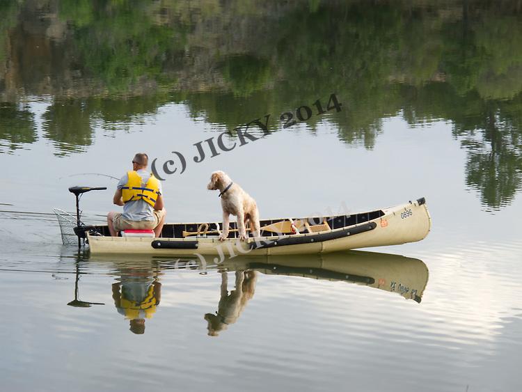 Angler and his dog - Fool Hollow Lake