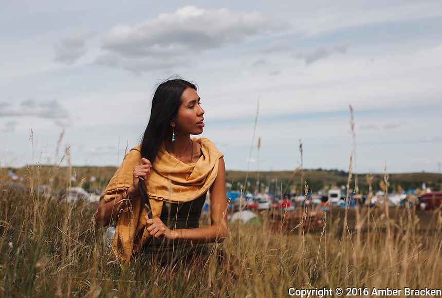 Felicia, last name withheld, just arrived from El Paso, TX, to the Sacred Stone Camp near Cannonball, ND on Saturday, September 10, 2016. She says she felt called to pray for the water and to stand with the nations.