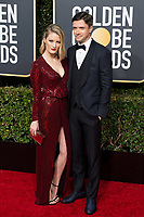 Ashley Hinshaw and Topher Grace attends the 76th Annual Golden Globe Awards at the Beverly Hilton in Beverly Hills, CA on Sunday, January 6, 2019.<br /> *Editorial Use Only*<br /> CAP/PLF/HFPA<br /> Image supplied by Capital Pictures