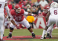 Hawgs Illustrated/BEN GOFF <br /> Johnny Gibson lines up at right guard for Arkansas in the second half against Mississippi State Saturday, Nov. 18, 2017, at Reynolds Razorback Stadium in Fayetteville.
