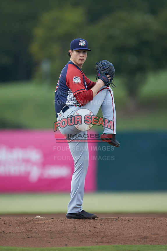 Hagerstown Suns starting pitcher Ryan Williamson (15) in action against the Kannapolis Intimidators at Kannapolis Intimidators Stadium on August 27, 2019 in Kannapolis, North Carolina. The Intimidators defeated the Suns 5-4. (Brian Westerholt/Four Seam Images)