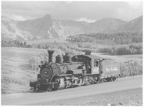 Leased D&amp;RGW K-27 #461 light at Dallas Divide.<br /> RGS  Dallas Divide, CO  Taken by Richardson, Robert W. - 9/16/1946