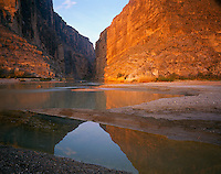 Big Bend National Park, TX <br /> Gold colors of sunrise reflect off of Santa Elenda canyon and Rio Grande River