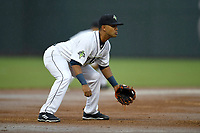 Third baseman Gio Alfonzo (6) of the Columbia Fireflies plays defense in a game against the Augusta GreenJackets on Saturday, April 7, 2018, at Spirit Communications Park in Columbia, South Carolina. Augusta won, 6-2. (Tom Priddy/Four Seam Images)