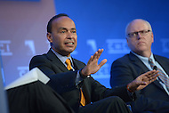 Washington, DC - October 1, 2014: Representative Luis Gutierrez (D-IL) speaks about immigration reform during a panel discussion, as Rep Joseph Crowley (D-NY) looks on, at the Congressional Hispanic Caucus Institute's Policy Conference held at the Ronald Reagan Building in the District of Columbia, October 1, 2014.  (Photo by Don Baxter/Media Images International)