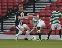 Blair Henderson gets the better of Callum McGregor in the Dunfermline Athletic v Celtic Scottish Football Association Youth Cup Final match played at Hampden Park, Glasgow on 1.5.13. ..