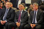 Presentation of Philippe Coutinho as New Player of the FC Barcelona.<br /> Oscar Grau, Javier Bordas &amp; Jordi Mestre.