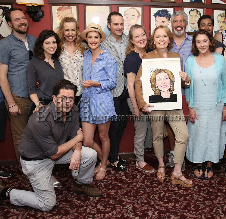 Moritz von Stuelpnagel, Reg Rogers, Tedra Millan, Ellen Harvey, Cobie Smulders, Jordan Roth and Kate Burton with the cast of 'Present Laughter' attend the Sardi's Caricature Unveiling for Kate Burton joining the Legendary Wall of Fame at Sardi's on June 28, 2017 in New York City.  attends the Sardi's Caricature Unveiling for Kate Burton joining the Legendary Wall of Fame at Sardi's on June 28, 2017 in New York City.