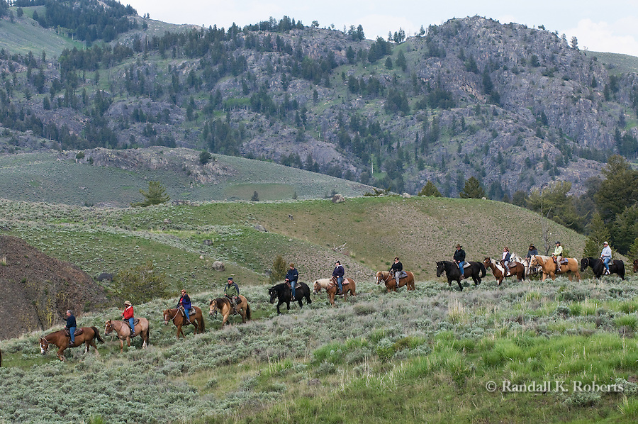 Riders head out in Yellowstone National Park, Wyoming.