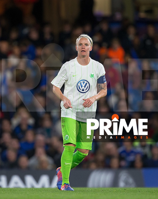 Nilla Fischer of VfL Wolfsburg (women) during the UEFA Women's Champions League match between Chelsea Ladies and VfL Wolfsburg at Stamford Bridge, London, England on 5 October 2016. Photo by Andy Rowland.