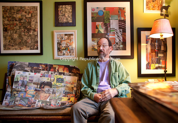 ROXBURY, CT-12 March 2013- 031213BF03-Collage artist Peter Wooster sits among his artwork at his home in Roxbury. An accomplished interior designer and architect, Wooster suffered a stroke in 2006 and has since taken to creating collages as a creative expression.  His work will be displayed at Good News Cafe & Gallery in Woodbury April 7 thru June 4, 2013. Bob Falcetti Republican-American