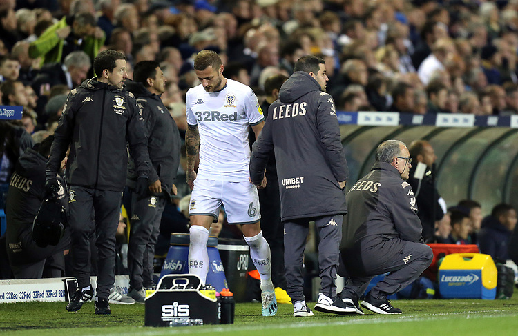 Leeds United manager Marcelo Bielsa looks on as Liam Cooper leaves the pitch injured during the first half<br /> <br /> Photographer Rich Linley/CameraSport<br /> <br /> The EFL Sky Bet Championship - Tuesday 1st October 2019  - Leeds United v West Bromwich Albion - Elland Road - Leeds<br /> <br /> World Copyright © 2019 CameraSport. All rights reserved. 43 Linden Ave. Countesthorpe. Leicester. England. LE8 5PG - Tel: +44 (0) 116 277 4147 - admin@camerasport.com - www.camerasport.com