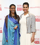 """Malaika Uwamahoro and Leslie Malaika Lewis during a reception for  """"Miracle in Rwanda"""" honoring International Day of Reflection on the 1994 Genocide against the Tutsi in Rwanda at the Lion Theatre on Theater Row on April 7, 2019 in New York City."""