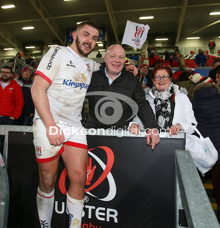 Saturday 7th December 2019   Ulster Rugby vs Harlequins<br /> <br /> Adam McBurney after the Heineken Champions Cup Round 3 clash in Pool 3, between Ulster Rugby and Harlequins at Kingspan Stadium, Ravenhill Park, Belfast, Northern Ireland. Photo by John Dickson / DICKSONDIGITAL