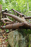 Remnants of landing gear at the crash site of a B-18 Bomber on Mount Waternomee in North Woodstock, New Hampshire. This bomber crashed on January 14, 1942. Out of seven crew members, five survived the crash and were able to remove themselves from the wreckage. The remaining two members died when the plane exploded.