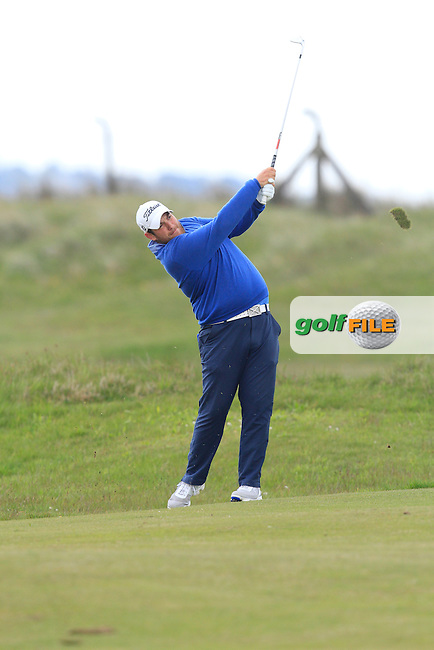 Alexander Culverwell (Scotland) on the 14th fairway during Round 3 of the Irish Amateur Open Championship at Royal Dublin on Saturday 9th May 2015.<br /> Picture:  Thos Caffrey / www.golffile.ie