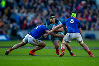 8th March 2020; Murrayfield Stadium, Edinburgh, Scotland; International Six Nations Rugby, Scotland versus France; Stuart McInally of Scotland is tackled by Gael Fickou and Gregory Alldritt of France