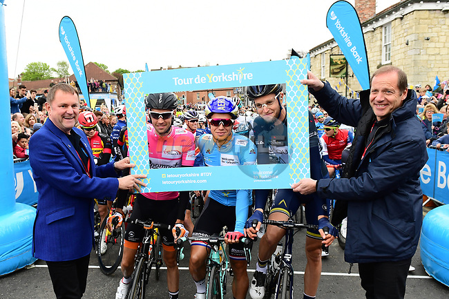 Race organiser Gary Verity and Christian Prudhomme ASO with the leaders jerseys before the start of Stage 2 of the Tour de Yorkshire 2017 running 122.5km from Tadcaster to Harrogate, England. 29th April 2017. <br /> Picture: ASO/A.Broadway | Cyclefile<br /> <br /> <br /> All photos usage must carry mandatory copyright credit (&copy; Cyclefile | ASO/A.Broadway)