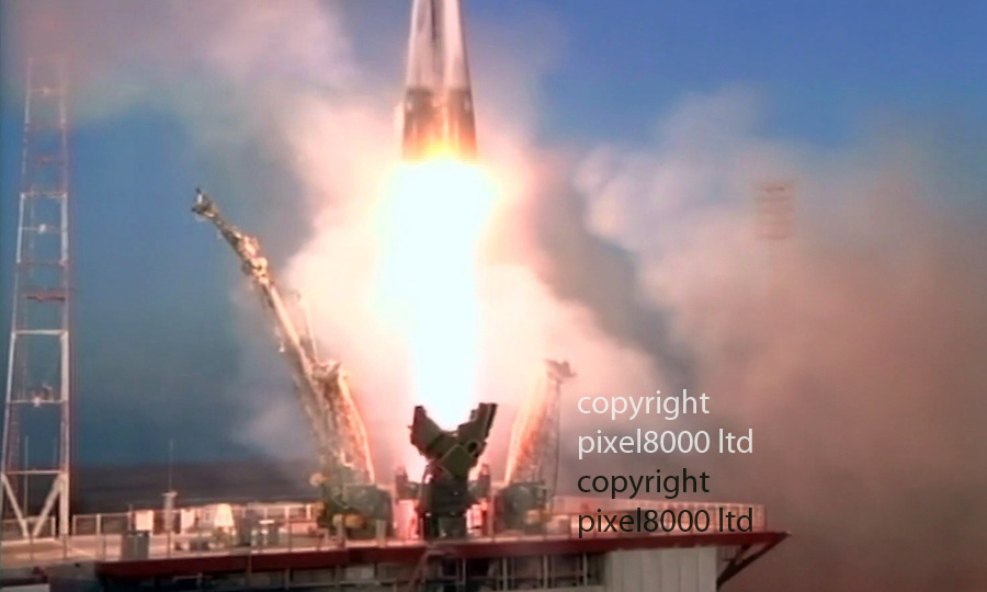 Pic shows: lift off for  Major Tim Peake<br /> <br /> <br /> <br />  as he become first British Astronaut heading for ISS after take off<br /> <br /> <br /> <br /> Picture by Pixel8000 07917221968