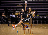 Jun. 10, 2013; Phoenix, AZ, USA: Phoenix Mercury center Brittney Griner (right) speaks to fans during a team practice at the US Airways Center. Mandatory Credit: Mark J. Rebilas-