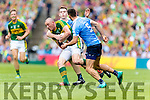 Kieran Donaghy Kerry in action against Brian Fenton and James McCarthy Dublin in the All Ireland Senior Football Semi Final at Croke Park on Sunday.