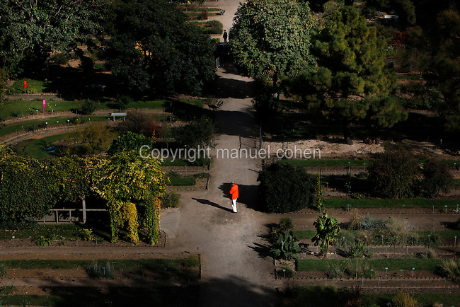 Aerial view of Jardin de l'Ecole de Botanique (garden of the botanical school), Jardin des Plantes, Paris, 5th arrondissement, France. Founded in 1626 by Guy de La Brosse, Louis XIII's physician, the Jardin des Plantes, originally known as the Jardin du Roi, opened to the public in 1640. It became the Museum National d'Histoire Naturelle in 1793 during the French Revolution. Picture by Manuel Cohen