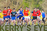 Dan Hawker Kenmare (Orange top) leads the field followed closely by Liam Carey ISK (red shirt) at the start of the Intermediate boys race in the Vocational Schools Cross Country championships in Killarney on Wednesday
