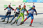 Athletes competes during the Men 12.5 km pursuit Biathlon race as part of the Winter Universiade Trentino 2013 on 16/12/2013 in Lago Di Tesero, Italy.<br /> <br /> &copy; Pierre Teyssot - www.pierreteyssot.com