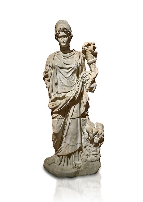 Roman statue of Hygieia. Marble. Perge. 2nd century AD. Inv no .Antalya Archaeology Museum; Turkey. Against a white background.<br /> <br />  Hygieia was one of the Aeclepiadae; the sons and daughters of the god of medicine; Asclepius; and the goddess of healing; Epione. She was the goddess of health; cleanliness and hygiene.