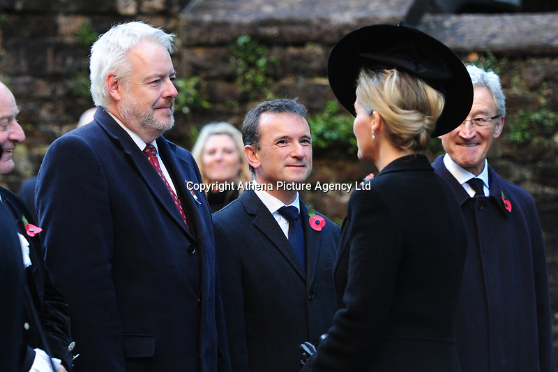 Pictured: Sophie, Countess of Wessex (right) is greeted by Carwyn Howell Jones (left) First Minster of Wales as she arrives at Llandaff Cathedral, Cardiff, Wales, UK.  Sunday 11 November 2018<br /> Re: Commemoration for the 100 years since the end of the First World War on Remembrance Day at the Llandaff Cathedral, in Llandaff, Cardiff, Wales, UK.