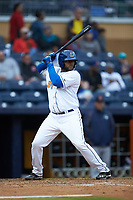Dashenko Ricardo (30) of the Durham Bulls at bat against the Gwinnett Braves at Durham Bulls Athletic Park on April 20, 2019 in Durham, North Carolina. The Bulls defeated the Braves 11-3 in game one of a double-header. (Brian Westerholt/Four Seam Images)