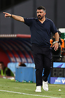 Gennaro Gattuso coach of SSC Napoli gestures<br /> during the Serie A football match between SSC  Napoli and US Sassuolo at stadio San Paolo in Naples ( Italy ), July 25th, 2020. Play resumes behind closed doors following the outbreak of the coronavirus disease. <br /> Photo Cesare Purini / Insidefoto