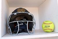 DURHAM, NC - FEBRUARY 29: A Notre Dame University batting helmet during a game between Notre Dame and Duke at Duke Softball Stadium on February 29, 2020 in Durham, North Carolina.