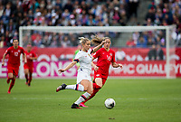 CARSON, CA - FEBRUARY 9: Abby Dahlkemper #7 of the United States sends a longball during a game between Canada and USWNT at Dignity Health Sports Park on February 9, 2020 in Carson, California.