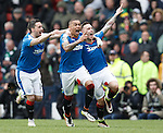 Barrie McKay celebrates his goal with James Tavernier and Nicky Clark