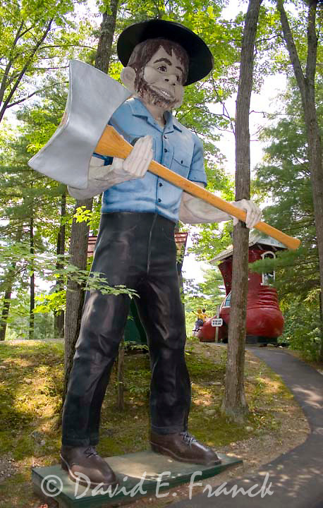 Giant half wit muffler man at Magic Forest a fairy tale themed childrens amusement park which opened in 1963 in Lake George New York