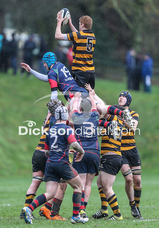 ULSTER SCHOOLS CUP - RBAI vs COLERAINE | Saturday 6th February 2016<br /> <br /> Blair Robinson<br /> Ulster Schools Cup clash between RBAI and Coleraine at Osborne Park, Belfast, Northern Ireland.<br /> <br /> Photo credit: John Dickson / DICKSONDIGITAL