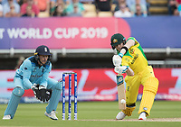 Steve Smith (Australia) pushes into the covers during Australia vs England, ICC World Cup Semi-Final Cricket at Edgbaston Stadium on 11th July 2019