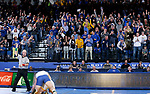BROOKINGS, SD - JANUARY 18: The crowd erupts as Alex Macki from South Dakota State University gets a key takedown in the closing seconds on Sam Egan from Wyoming during their heavyweight pound match Thursday night at Frost Arena in Brookings. (Photo by Dave Eggen/Inertia)