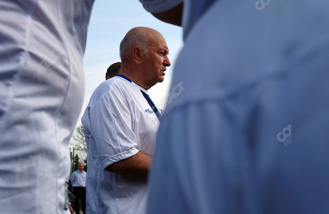 Yuri Luzhkov, the Mayor of Moscow, posed for pictures after a football match between the government of Moscow team, of which he is the captain, and a team of journalists from the local newspaper Moskovskaya Pravda. the government team won 5-4.  Moscow, Russia, June 18, 2005