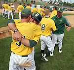 SIOUX FALLS, SD - MAY 24:  Wes Satzinger #31 gets a hug from NDSU Head Coach Tod Brown after the Bison defeated Western Illinois 9-0 for the Summit League Championship Saturday at Sioux Falls Stadium. (Photo by Dave Eggen/Inertia)